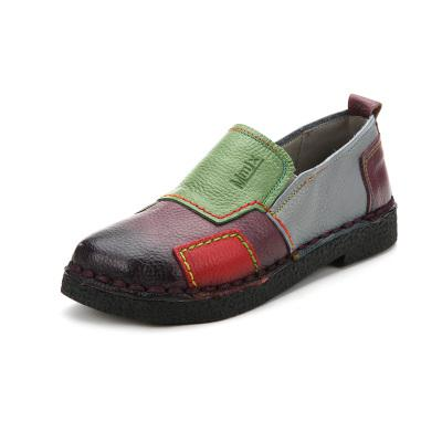Fashion Women Shoes Genuine Leather Loafers Women Mixed Colors Casual shoes Handmade Soft - SolaceConnect.com