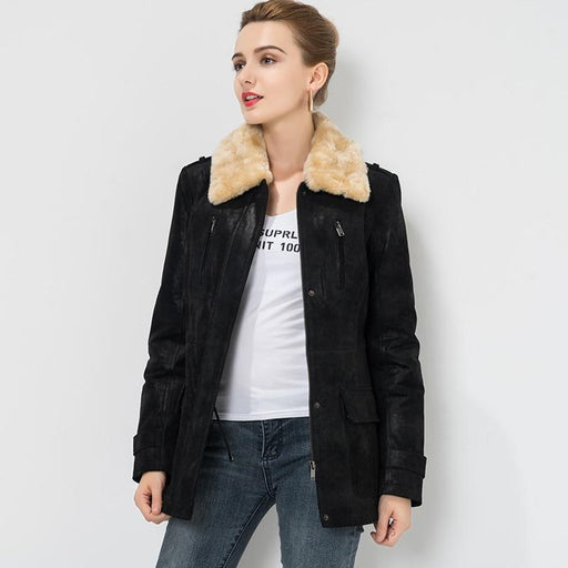 S-4XL Women's real leather jacket with fur collar detachable Genuine Leather jacket Pigskin denim - SolaceConnect.com