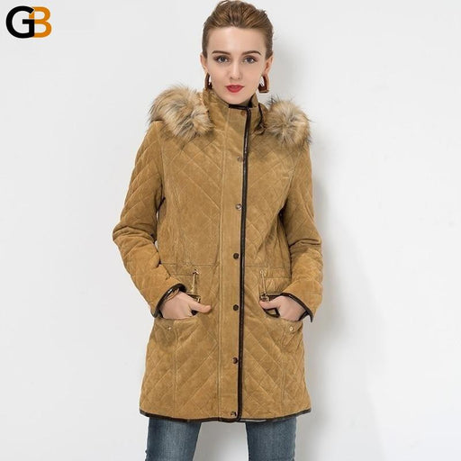 Women's Pigskin Detachable Hooded Faux fur Collar Leather Motorcycle Jacket - SolaceConnect.com