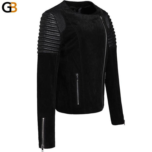 Women's Pigskin real leather jacket motorcycle Genuine Leather jacket motorcycle jacket biker coat - SolaceConnect.com