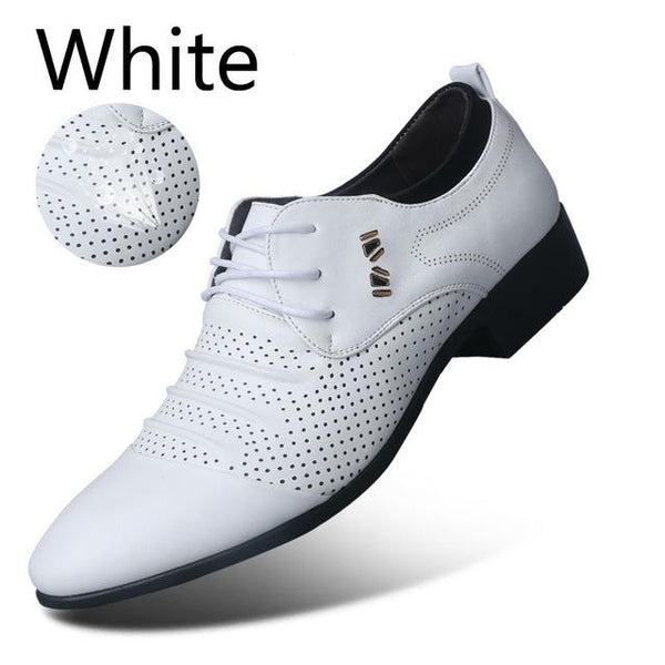 Men's Artificial Leather Pointed Toe Casual Business Slip-On Dress Shoes - SolaceConnect.com