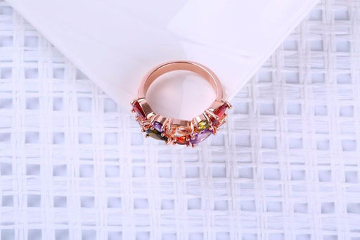 Rose Gold Multicolor Mona Lisa Crystal Ring Earrings Jewelry Sets for Women - SolaceConnect.com