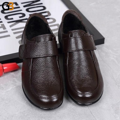 Soft Comfortable Leather Shoes for Middle-Aged Large Size Woman - SolaceConnect.com