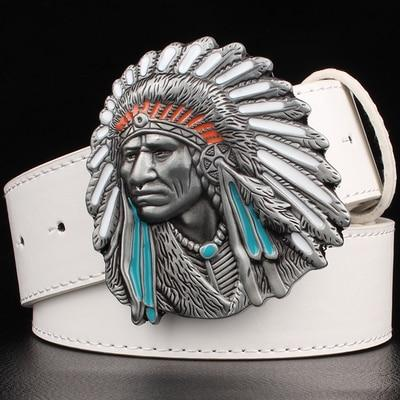 Indian Chief belt men's women's big buckle Decorative belt hip-hop bulk wild western cowboy style - SolaceConnect.com