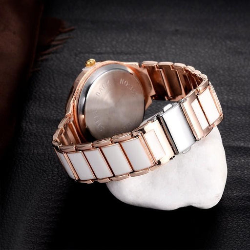 Women's Luxury Fashion Rose Gold Bracelet Quartz Watch with Folding Clasp - SolaceConnect.com