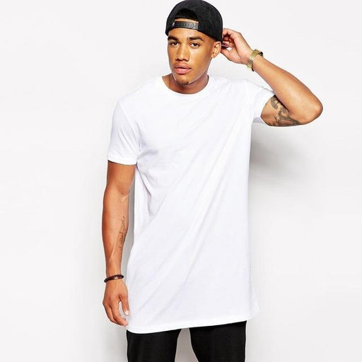 White Casual Long Size Men's Hip Hop Streetwear Longline T-Shirt - SolaceConnect.com