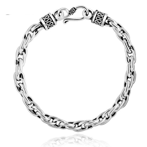 SOLACE Real Solid 925 Sterling Silver Water Shape Vintage Bracelet for Mens Women Steampunk Retro - SolaceConnect.com