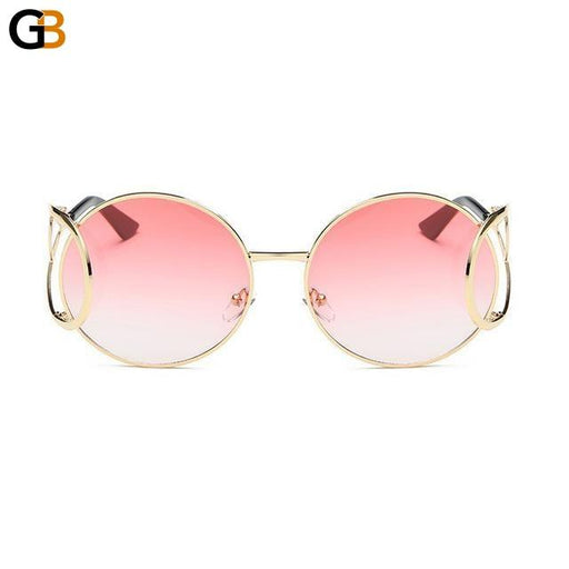 Designer Vintage Round Oversized Unisex Sunglasses with Clear Gradient - SolaceConnect.com