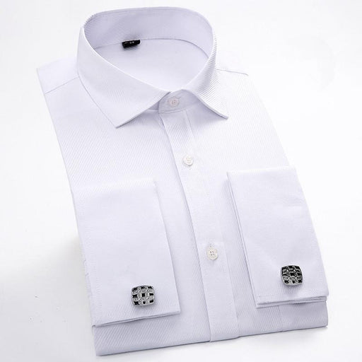Men's Long Sleeve Casual Slim Fit French Shirts with Cufflinks - SolaceConnect.com