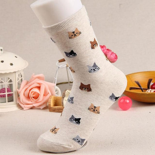 Animal Cartoon Prints Lovely Hosiery Socks for Women in 5 Colors - SolaceConnect.com