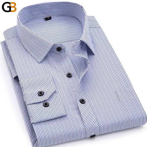 Plus Size Men's Business Casual Long Sleeved Shirt with Classic Stripes - SolaceConnect.com