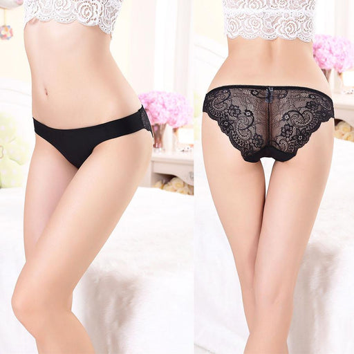 Sexy Seamless Breathable Cotton Hollow Brief Panties for Women with Lace - SolaceConnect.com