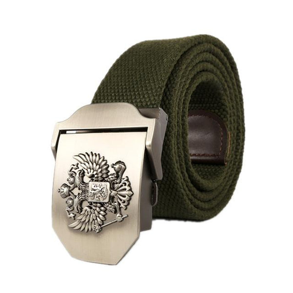 Russian Fashion Real Solid Canvas Cowboy Belt with Pin Buckle for Men - SolaceConnect.com