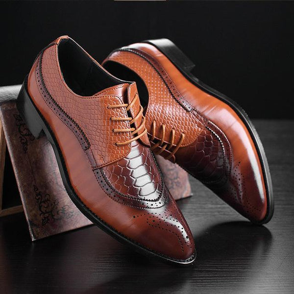 Men's Plus Size 37-48 Lace-Up Old Skool Waterproof Derby Dress Shoes - SolaceConnect.com