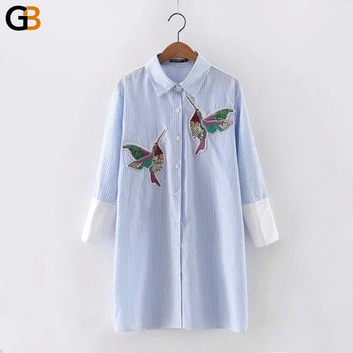 Bird Embroidered Long Sleeved Turn Down High Quality Women's Blouse - SolaceConnect.com
