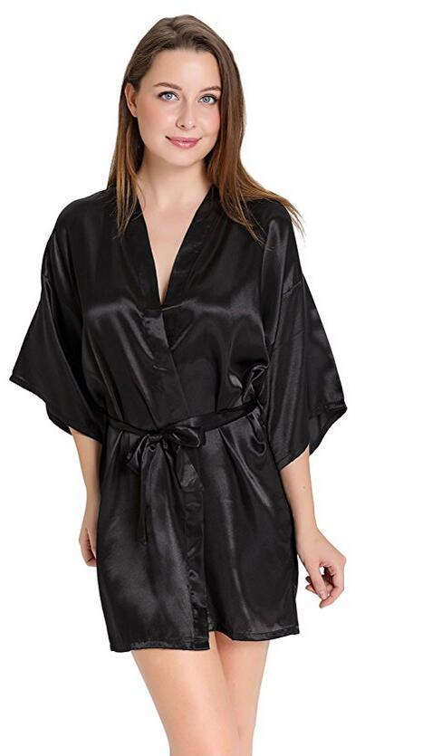8d474e9c5a Sexy Silk Satin Night Kimono Robe Short Bathrobe Perfect Wedding Bridesmaid  Bride Robes Solid - SolaceConnect ...