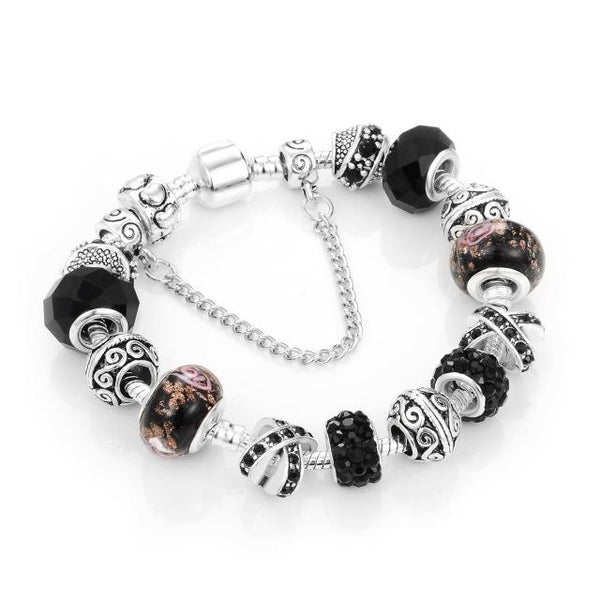 European Ribbon Charm Crystal Beads Snake Chain Bracelet for Women - SolaceConnect.com