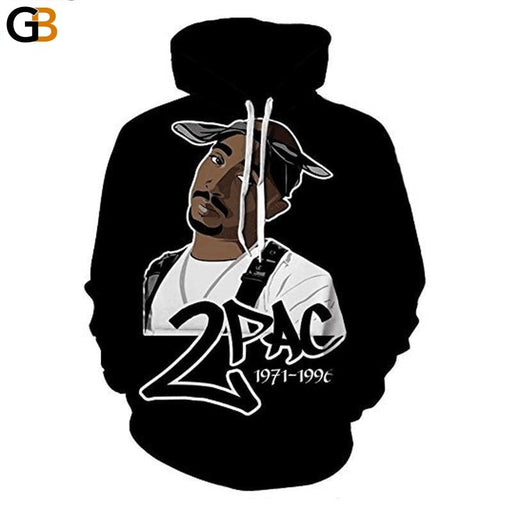 Men's 3D Hip Hop Rapper 2pac Print Long Sleeves Autumn Pullovers Hoodies<br> - SolaceConnect.com