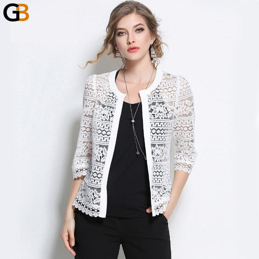 Women's Plus Size White Lace Hollow Out Floral O-Neck Cardigan - SolaceConnect.com