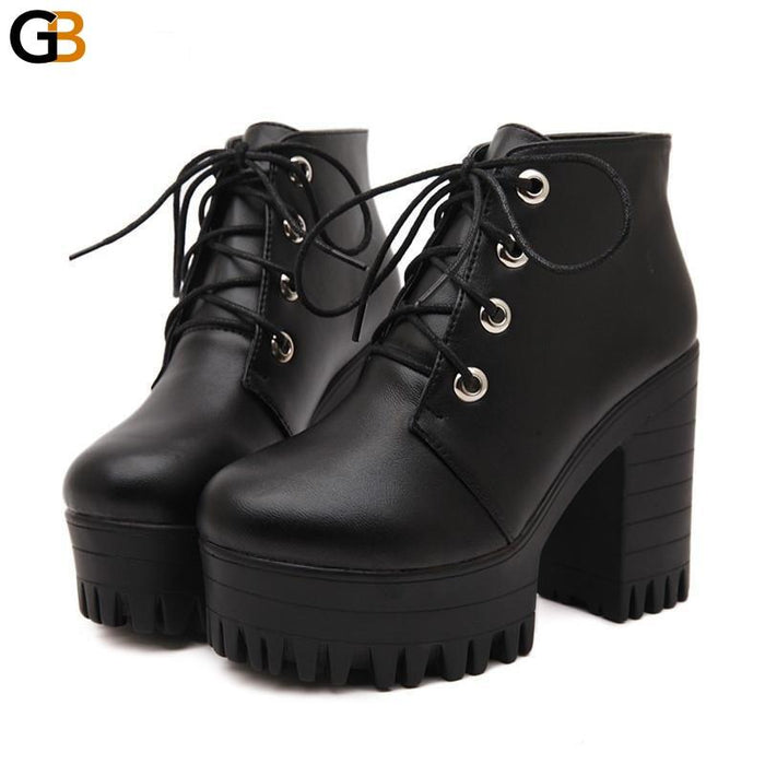 Designers Spring Autumn Women's Black High Heels Lacing Platform Boots - SolaceConnect.com