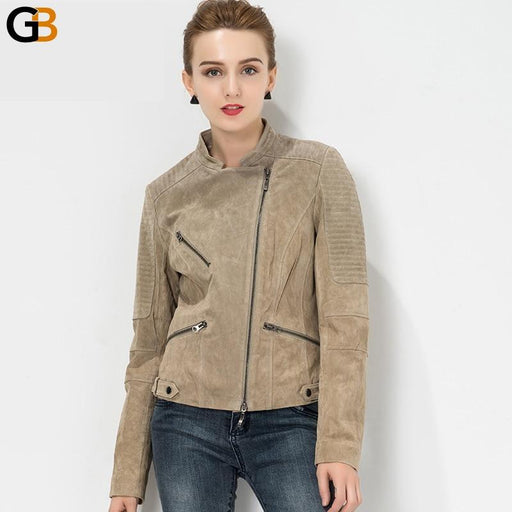 S-4XL plus size Women's biker coat Real leather motorcycle Slim fit Genuine leather jacket - SolaceConnect.com