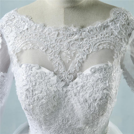 Lace White Ivory Lace Wedding Dresses for bride gown with sleeve big train plus size maxi Customer - SolaceConnect.com