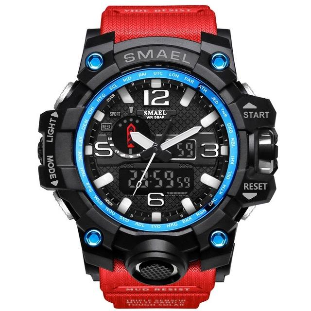 Male Gift Dual Display Quartz LED Digital Sports Wristwatches for Men - SolaceConnect.com