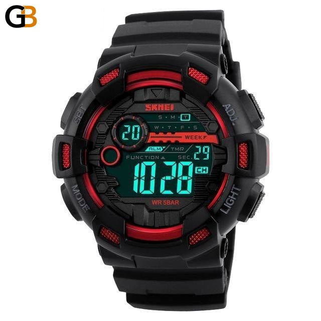 Men's 50m Waterproof Back Light LED Digital Sports Watch with Chronograph - SolaceConnect.com