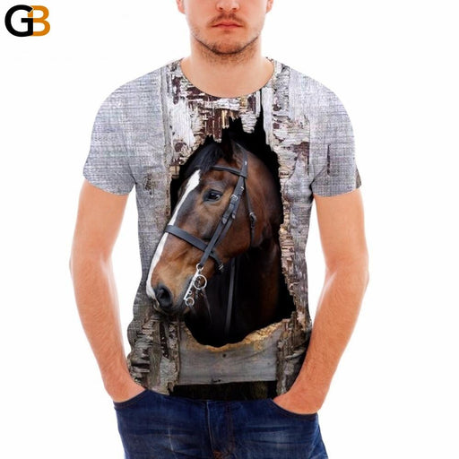FORUDESIGNS Brand Designer Men T Shirt Funny 3D Crazy Horse Printed Male Top Tees Summer Short - SolaceConnect.com