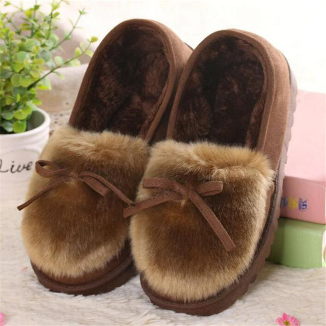 Autumn Winter Women's Warm Fur Cotton Ballet Flats with Lovely Bow - SolaceConnect.com