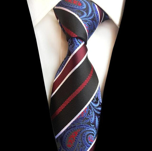 Paisley Jacquard Woven Silk Mens Ties Neck Tie 8cm Striped Ties for Men Business Suit Business - SolaceConnect.com