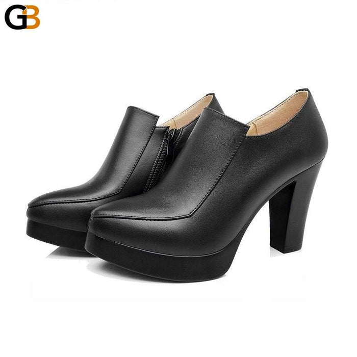 Women's Spring Autumn Fashion Genuine Leather Shoes with Thick High Heels - SolaceConnect.com