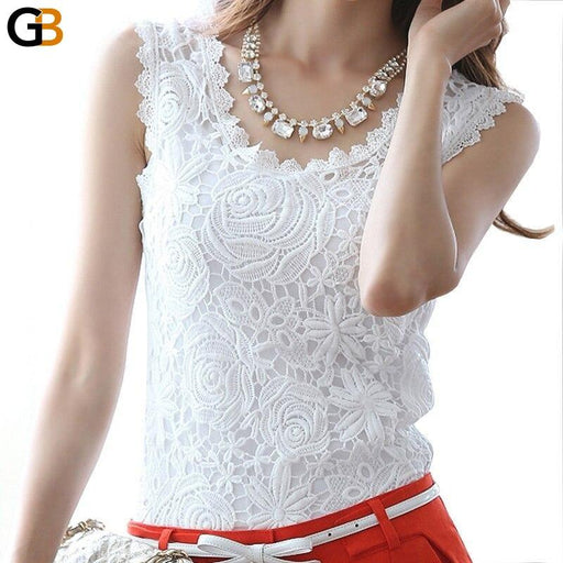 Women's Sleeveless Vintage Chiffon Lace O-Neck Casual Floral Blouse - SolaceConnect.com