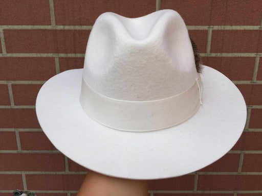 Classic American Style White Men's Wool Felt Unisex Godfather Fedora Hat - SolaceConnect.com
