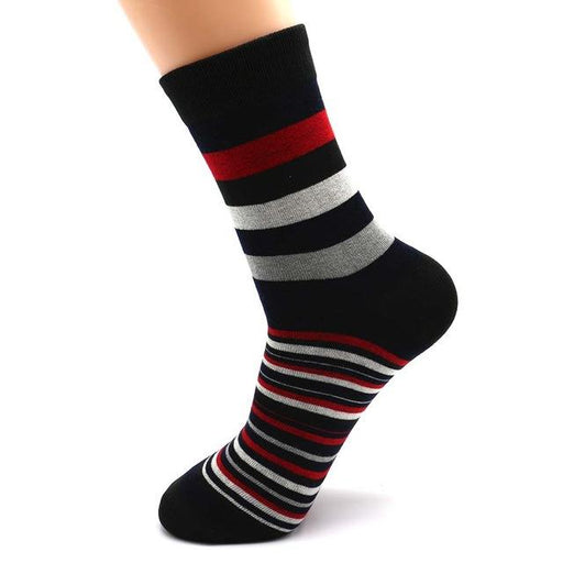 5 Pairs Popular Men's Latest Fashion Color Stripes Designed Socks - SolaceConnect.com