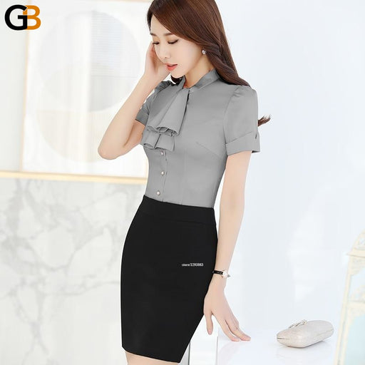 Women's Fashion Chiffon Short Sleeve Bow with Tie Office Blouse Shirts Top - SolaceConnect.com