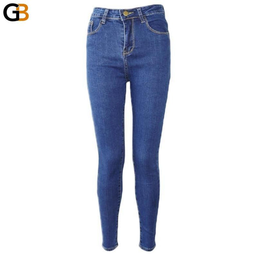 Women's Denim High Waist Stretch Pencil Pants Full Length Jeans - SolaceConnect.com