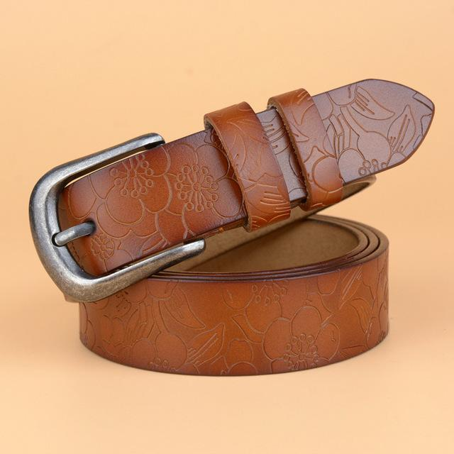 Hot Vintage Women's Genuine Leather Cow Skin Strap Pin Buckle Belts - SolaceConnect.com