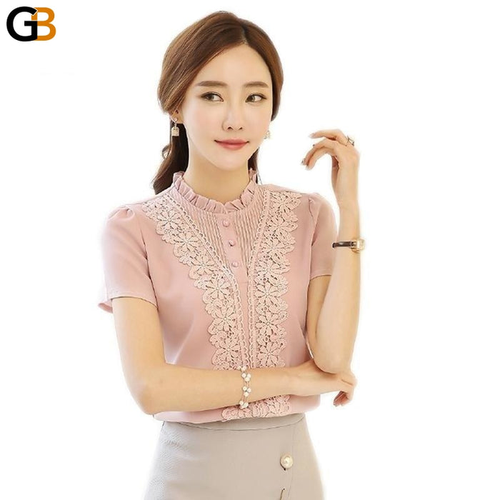 Arrival Fashion Style Women Blouses Sweet Cute Lady Blouses Plus Size V-neck Short Sleeve - SolaceConnect.com