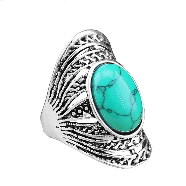 Vintage Antique Silver Plated Hollow Flower Oval Stone Rings for Women - SolaceConnect.com