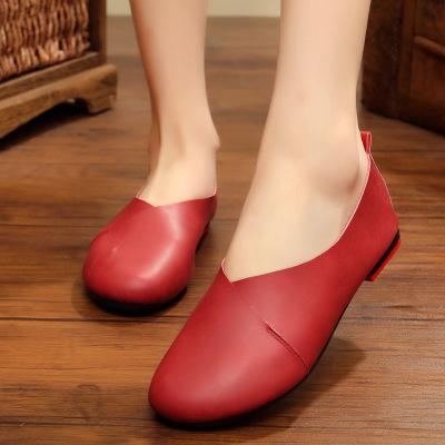 Women's Plus Size Round Toe Loafers Genuine Leather Flat Shoes in 6 Colors - SolaceConnect.com