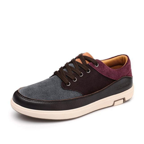 Men's Leather Casual Suede Moccasins Shoes with Patchwork Color - SolaceConnect.com