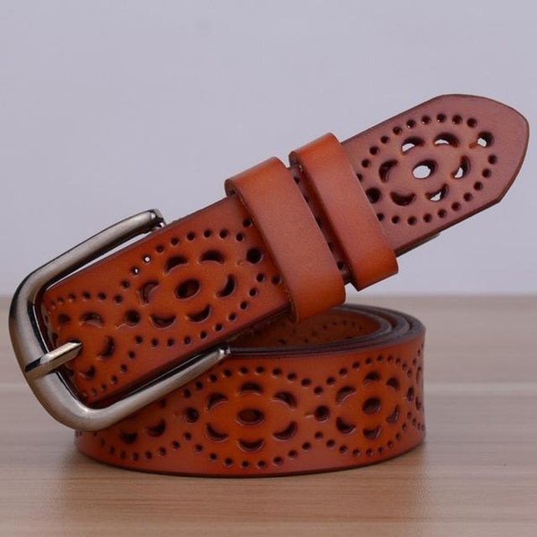High Quality Women's Genuine Leather Waist Strap Belt with Pin Buckle - SolaceConnect.com