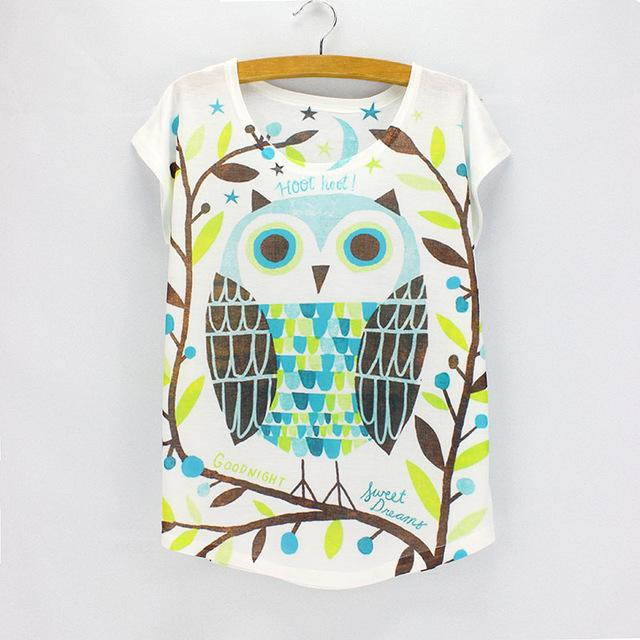 Fashion Women's Big Eyeglasses Rabbit Pattern Summer Tees Tops - SolaceConnect.com