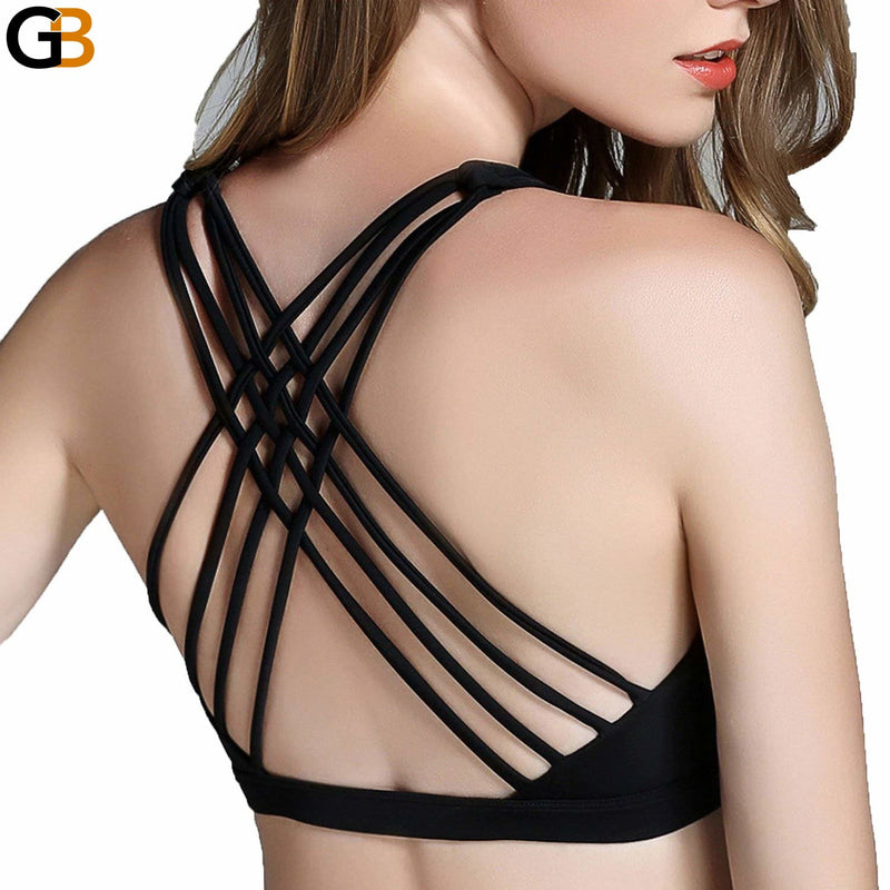 Hot Back Sexy Yoga Bra Women Padded Sports Bra Shake proof Running Bra Workout Gym Bra Wire - SolaceConnect.com