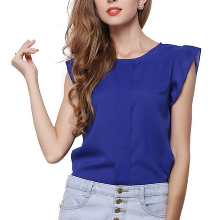 Fashion Short Butterfly Sleeve Women Blouses Clothing Casual Chiffon Shirt Blusas Tops - SolaceConnect.com