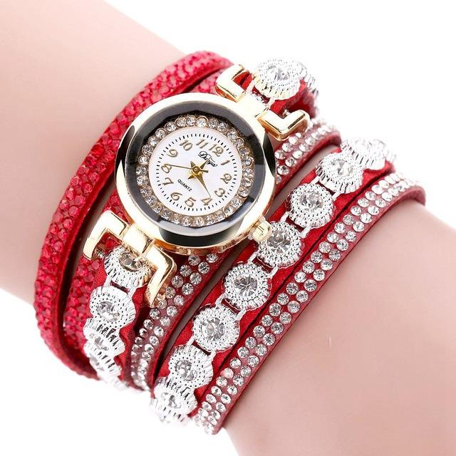 Luxury Leather Crystal Round Dial Gold Bracelet Wristwatch for Women - SolaceConnect.com
