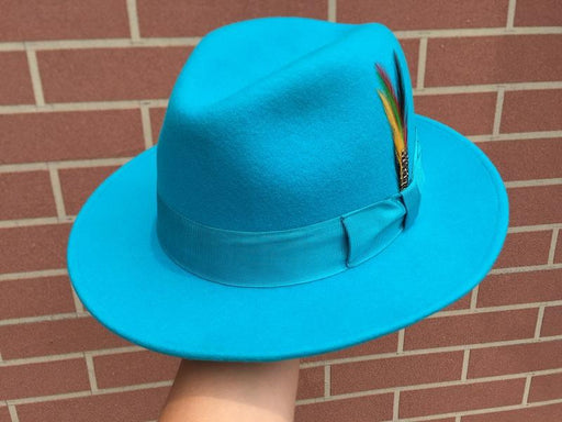 Classic Light Blue Wool Felt Fur Godfather Fedora Hat in Italian Design - SolaceConnect.com