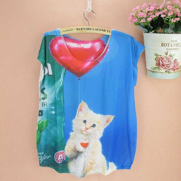 Big Size Summer Novelty Pattern Doodle Cats Printed T-Shirt Tops for Ladies - SolaceConnect.com