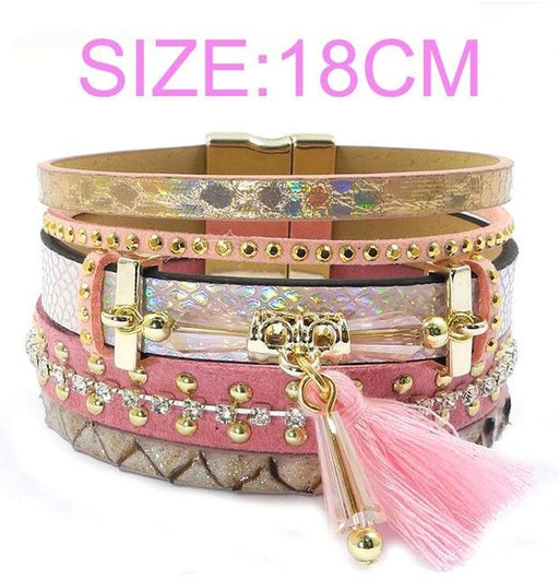Bohemian Women's Jewelry Leather Bracelet with Tassel & Crystal - SolaceConnect.com